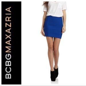 BCBGMAX AZRIA BLUE HIGH WAISTED BANDAGE SKIRT LG